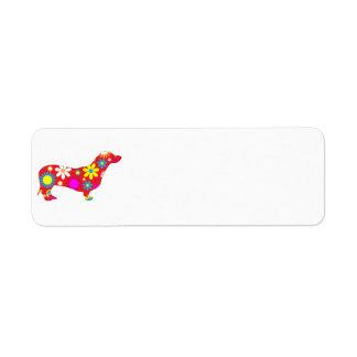 Personalizado floral retro enrrollado del perro etiqueta de remite