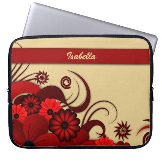 "Personalizado floral rojo 15"" del hibisco manga mangas computadora"