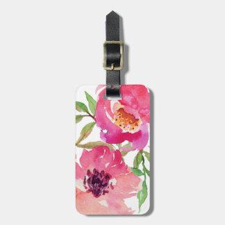 Personalizado floral rosado femenino de la etiquetas maletas