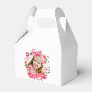 Personalizado floral rosado femenino de la foto de caja para regalos