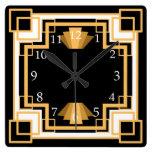Personalizado geométrico del modelo del art déco reloj cuadrado