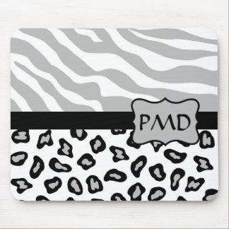 Personalizado gris, blanco y negro de la piel de mousepads
