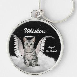 Personalizado gris del dulce del gato del ángel llavero redondo plateado