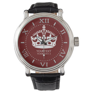Personalizado guarde el acento tranquilo del rojo relojes de mano