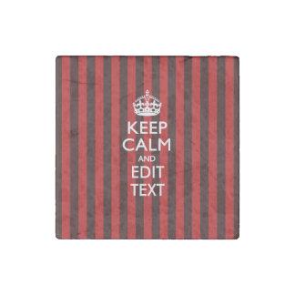 Personalizado guarde la calma su texto en rayas imán de piedra