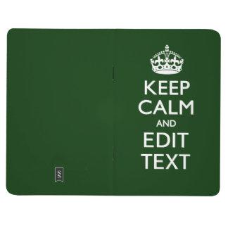 Personalizado guarde la calma y su decoración del cuadernos