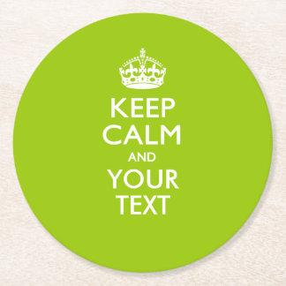 Personalizado GUARDE LA CALMA Y su texto en verde Posavasos Personalizable Redondo