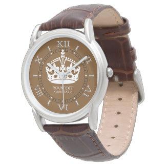 Personalizado guarde la corona tranquila en marrón relojes