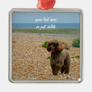 Personalizado hermoso miniatura de la playa de la adorno navideño cuadrado de metal