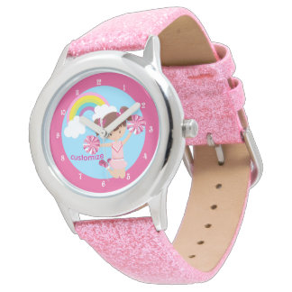 Personalizado lindo de la animadora rosada reloj