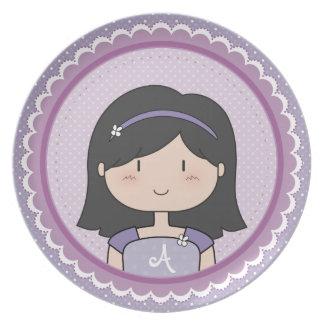 Personalizado lindo de la niña (PÚRPURA) Plato Para Fiesta