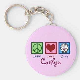 Personalizado lindo de la vaca rosada llavero redondo tipo pin