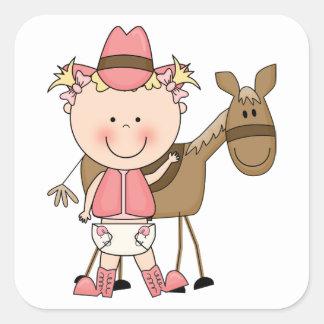 Personalizado lindo del potro de la niña y del cab calcomanía cuadradas personalizadas