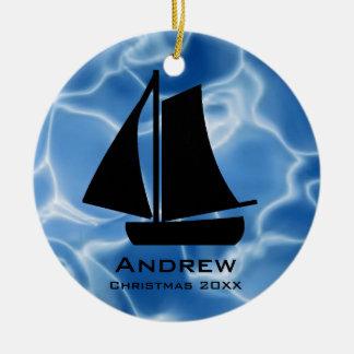 Personalizado navegando el ornamento adorno redondo de cerámica