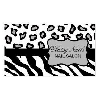 Personalizado negro, blanco y gris de la cebra y tarjetas de visita