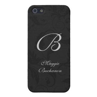 Personalizado negro con monograma del damasco iPhone 5 protectores
