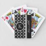 Personalizado negro del nombre del monograma del m baraja cartas de poker