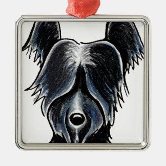 Personalizado negro del retrato de Skye Terrier Adorno Navideño Cuadrado De Metal