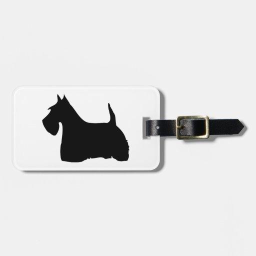 Personalizado negro lindo de la silueta del perro  etiqueta para equipaje