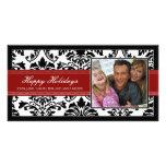 Personalizado negro y rojo elegante del damasco bu tarjetas fotograficas personalizadas