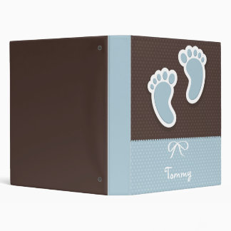 Personalizado, nombre, bebé, huella, carpeta azul