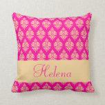 Personalizado, nombre, modelo del damasco, almohad almohadas