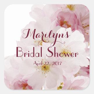 Personalizado nupcial de la ducha de las flores de pegatina cuadrada
