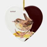 Personalizado, pájaro lindo anticuado del Wren de  Ornamento De Reyes Magos