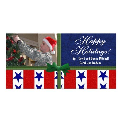 Personalizado patriótico militar del navidad tarjetas personales con fotos