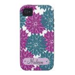 Personalizado personalizado con las flores azules Case-Mate iPhone 4 fundas