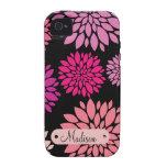 Personalizado personalizado con las flores púrpura vibe iPhone 4 fundas