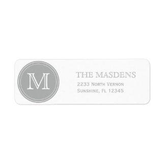 Personalizado personalizado gris con monograma etiqueta de remite