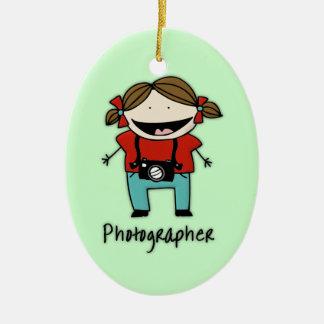 Personalizado personalizado hembra del fotógrafo adorno navideño ovalado de cerámica