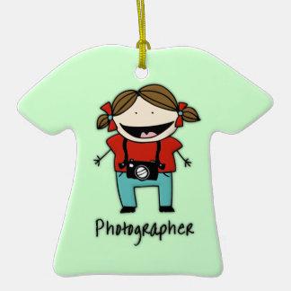 Personalizado personalizado hembra del fotógrafo adorno de cerámica en forma de playera