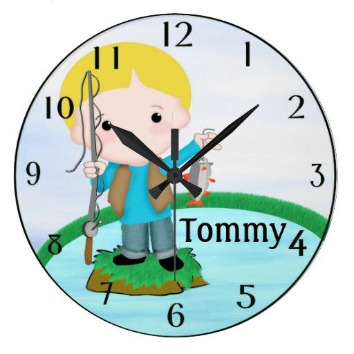 Personalizado pescando el reloj de pared