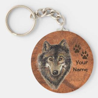 Personalizado, pistas personalizadas del lobo llavero redondo tipo pin