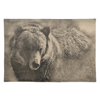 Personalizado Placemat del oso grizzly Manteles Individuales