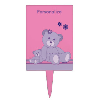 Personalizado púrpura Cakepick de Teddybears Palillos De Tarta