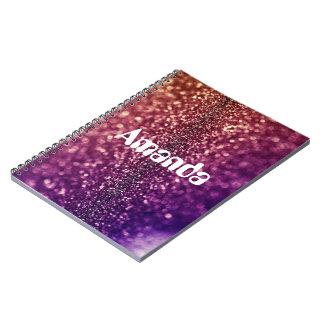 Personalizado púrpura de AMANDA nombrado cuaderno