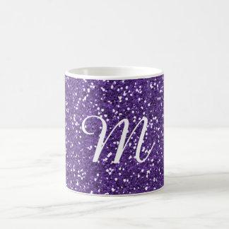Personalizado púrpura del brillo con monograma taza clásica