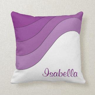 Personalizado rayado púrpura de la onda tonal cojín