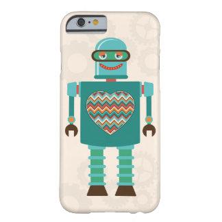 Personalizado retro del corazón del robot de la funda para iPhone 6 barely there