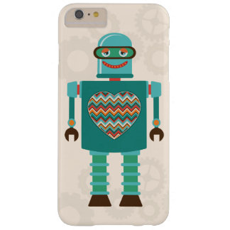 Personalizado retro del corazón del robot de la funda para iPhone 6 plus barely there