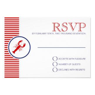 Personalizado rojo de la langosta de RSVP del tema Anuncios Personalizados