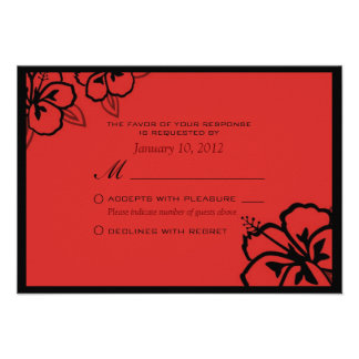 Personalizado rojo y negro RSVP de la flor del hib Anuncios Personalizados