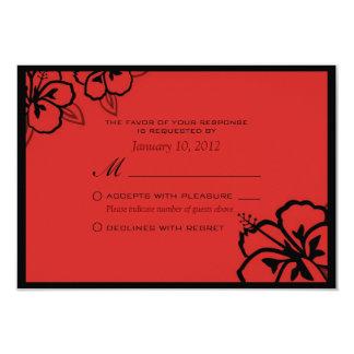 Personalizado rojo y negro RSVP de la flor del Anuncios Personalizados