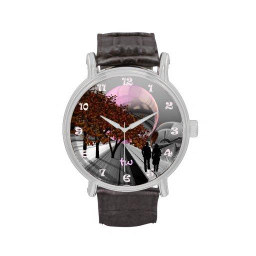 Personalizado romántico futurista con monograma relojes