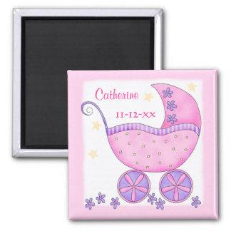 Personalizado rosado de la fecha de nacimiento del imán de nevera