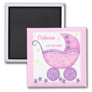 Personalizado rosado de la fecha de nacimiento del imán cuadrado