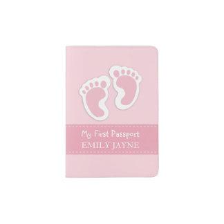 Personalizado rosado de las primeras del pasaporte porta pasaporte